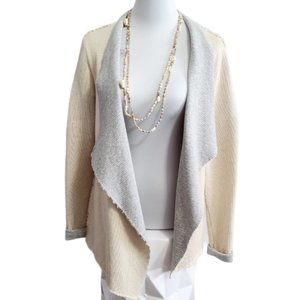 Beachy Cardi, Cream and Grey, Sz Small